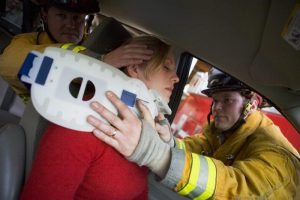 Accident injury to the neck of female driver