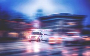 Ambulance driving fast to get to the accident scene