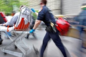 EMS transfers driver with car accident injury